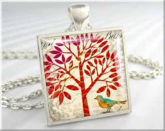 Tree Of Life Pendant, Resin Charm, Tree Of Life Necklace, Red Accessory, Tree Jewelry, Square Silver, Gift Under 20, Nature Gift 033SS
