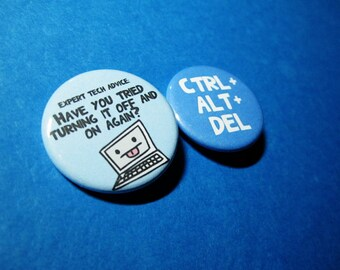Expert Tech and IT Computer Advice Pinback Button Set (or Magnet)