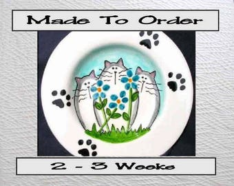 6 Inch Ceramic Plate Cats and Flowers In Blue Made To Order By Grace M Smith