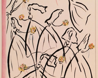 Postcard featuring a famous 'New Yorker' cover 'Wedding Scene, Brides with Posies'. BIG discount for multiple purchases!!