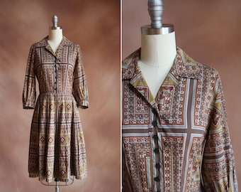 vintage 1960's cotton brown & olive green paisley print shirtdress / size s