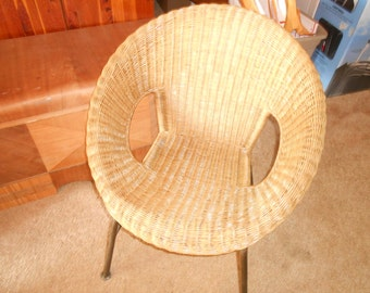 Mid century rattan basket chair with metal legs