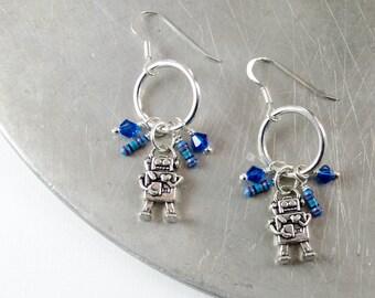 Blue Robot Earrings, Robotics Jewelry, Computer Geek, Geek Gift for Her, Tech Gift, Wearable Technology, Nerdy Earrings, Resistor Earrings