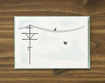 SALE telephone line and birds aqua blue blank note card