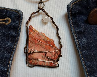 Southwestern Agate Mountain Pendant Leather Necklace, Southwestern Mountain Necklace, Southwestern Necklace, Southwestern Pendant Necklace