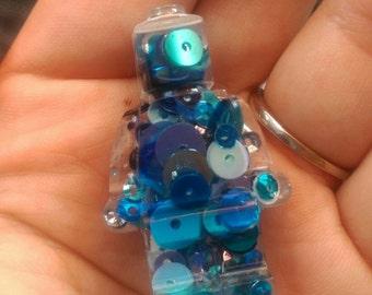 Blue sequined mini figure brooch, mini figure brooch, resin man, blue man, sequin man, sequins figure, shiny brooch, sequin brooch
