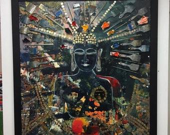 Gautama Buddha - Original painting by Tolli Morthens
