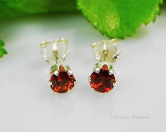 Genuine Mozambique Garnet Sterling Silver Earrings (gift box included)
