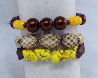 Brown Yellow Beige 3 Piece Stackable Bracelet Set - Stackable Bracelet - Bracelets - 3 Piece Bracelet