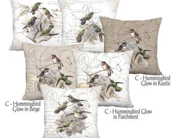 French Hummingbird Cottage Pillow Cover - Linen Cotton Neutral Bird Pillow - 16x 18x 20x 22x 24x 26x 28x Inch Bird Decor Cushion Cover