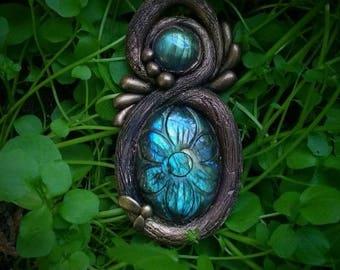 Carved labradorite necklace, carved stone pendant, large blue Labradorite, woodland branch, boho jewelry, nature polymer clay pendant
