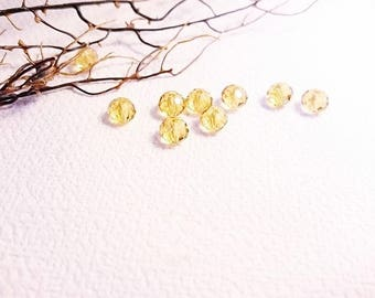 20 6 mm honey colored faceted glass beads