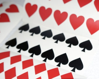 Suit Playing Cards decals 20 pcs , vinyl Card symbol Suite wall decor Envelope seals , removable wallpaper, Poker night stickers vinyl cards