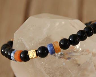 Jasper rondelles and Obsidian bracelet