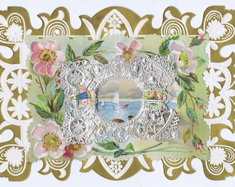 Antique Vintage Victorian Valentine with Sailboat Flowers Silver Paper Lace Embossed Chromo Greeting Card Love Token Keepsake
