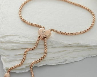 Personalised Rose Gold Slider Heart Bracelet (159R)