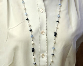 Blue and White Long HandCrafted Necklace ... silver accents