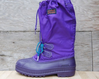 Vintage Purple Sorel Snow Boots - Kaufman Made in Canada - Women's 5
