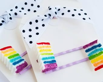 rainbow cake hair pins set of two for little girls hair accessories bobby pins