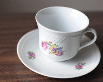 German Democratic Republic (GDR) flowered tea cup with saucer, ca 1950s