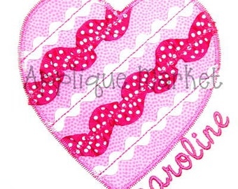 Machine Embroidery Design Applique Ribbon Heart INSTANT DOWNLOAD