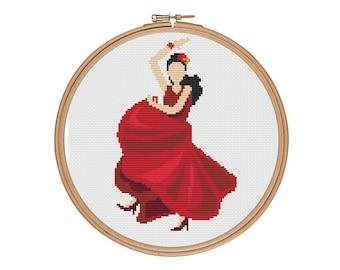 Flamenco, Flamenco art, Flamenco dress, Flamenco dancer, Flamenco cross stitch, Dancing flamenco, Spanish dancer, Spain cross stitch pattern