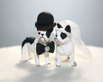 French Bulldog Wedding Cake Topper; Bride and Groom; Dogs; Rustic Wedding; Animal Cake Topper; Cute; Adorable; Dog Cake Topper