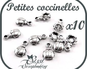 LOT 10 CHARMS silver Ladybug charm SCRAPBOOKING 7 x 6 x 2.1 mm