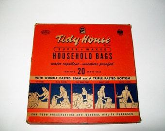 Vintage Tidy House Household Bags Advertising Graphics 1940's Kitchen Decor