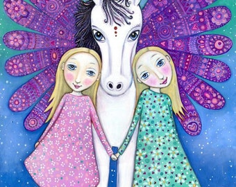 Winged Unicorn Wall Art Print Blonde Twins Sister Wall Decor Two Sisters Art Gift for Girls Room Unicorn Wall Decor Horse Childrens Wall Art