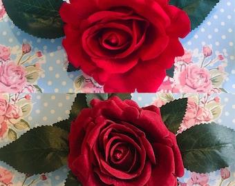 Red Rose Hair Clips, Rose Hair Flower, Red Rose hair flowers, summer hair accessories