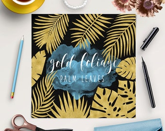 ALOHA HAWAII, Palm Tree Leaves Clip Art, Tropical Clipart, Monstera Leaf, Gold Foliage, Palm Leaf, 11 PNG Files, Coupon Code: BUY5FOR8