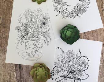 "Watercolour set of three 5""x 7"" Black & white whimsical floral prints"