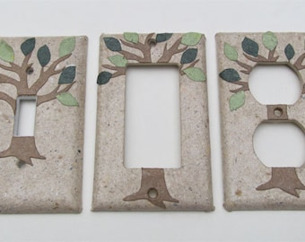Decorative Tree with Green Leaves Light Switch Plates, handmade paper from recycled materials and no dyes, earth friendly wall art