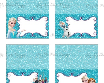 Printable Frozen Tent Cards:  Digital Download - Set of 4 Tent/Buffet Cards