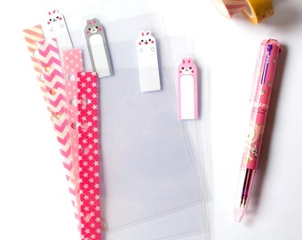 Pink Rabbits - Personal Clear Dividers Top Tabs for Filofax / Kikki-k / Webster's Pages