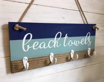 Beach towel rack/ Beach decor/ Beach towel hook/ Coastal decor/ Nautical decor/Towel hooks