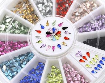 DIY Nails Art Wheel full of Water drop Shaped Rhinestones