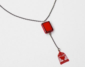 """Red end """"night of China"""" necklace, bird cage"""