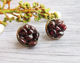 Bridesmaid gift for mom gift earrings Garnet earrings Garnet studs earrings Bohemian earrings January Birthstone jewellery Garnet jewellery