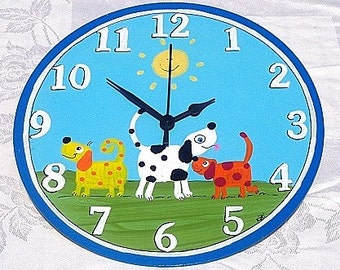 Round Wall Clock With dogs Painting