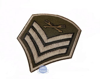 Badge embroidered military Crest stripe fusible patch army 8.5 cm