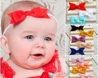 SET of 5 Nylon baby headbands, baby headbands, nylon headband,newborn baby headband set,baby girl headbands,mini bow headband,White headband