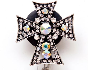 Silver Cross Rhinestone Badge Reel Retractable ID Badge Holder