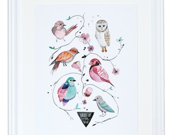Birds of the Wild, Watercolor Art Print, Nature Painting, Meera Lee Patel