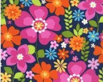 Michael MIller Flowertopia Midnight Navy Cotton Quilting Fabric