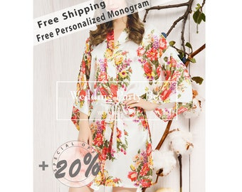 Sale Bridesmaid Robes, MIX&MATCH, Bridesmaid Gifts, Floral Robe, Kimono Robe, Wedding, Robe Satin Robes Set, Monogram, Free shipping +20%
