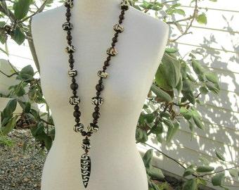 LONG African Necklace Set, Kenyan Batik Bone Amulet & Batik Bone Beads, Unisex Statement Necklace Set by SandraDesigns