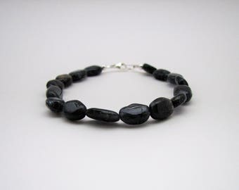 Puffed Oval Iolite and Sterling Silver Stretch Bracelet