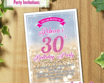 50x Personalised Birthday Party Invitations for 40th 50th 60th 30th 21st with Envelopes - PRINTED and DELIVERED